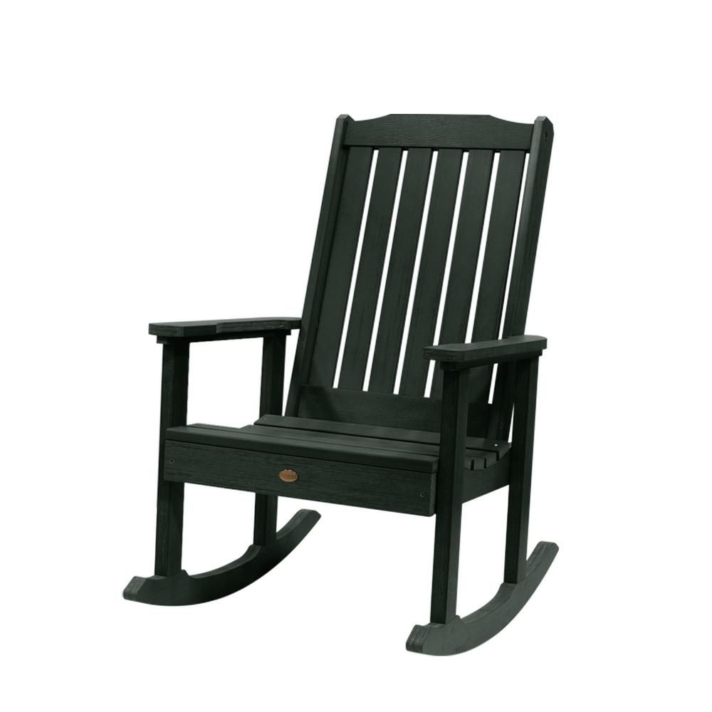Highwood Lehigh Charleston Green Recycled Plastic Outdoor Rocking Chair Ad Rkch1 Che The Home Depot Plastic Rocking Chair Outdoor Rocking Chairs Rocking Chair