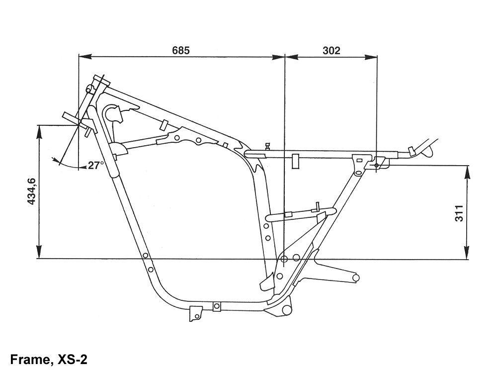 Motorcycle Frame Types : Yamaha xs frame size my build