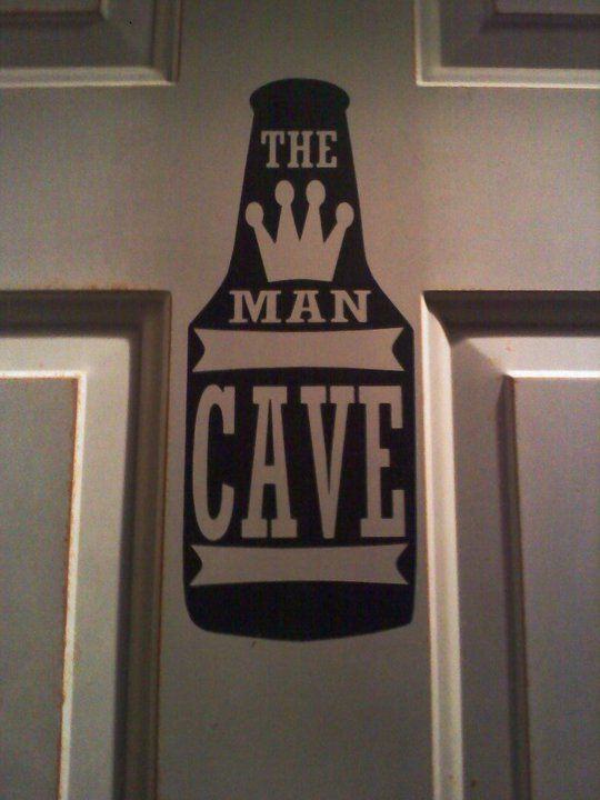 Vinyl door sign for the hubs' garage and/or basement door.
