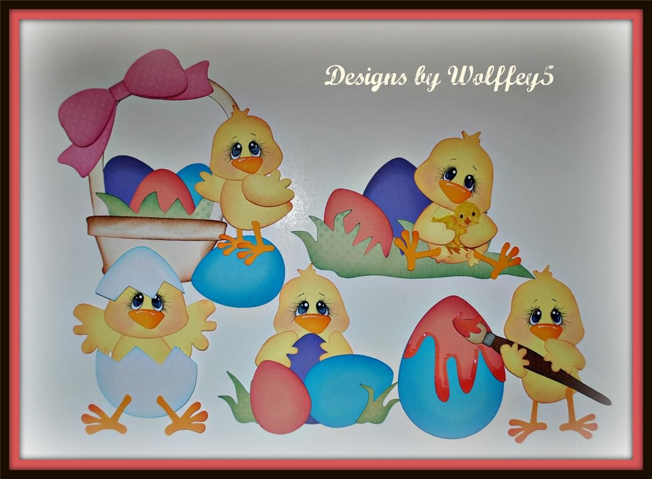 Scrapbook ideas easter - Easter Chicks Coloring Eggs Scrapbook Paper Piecings