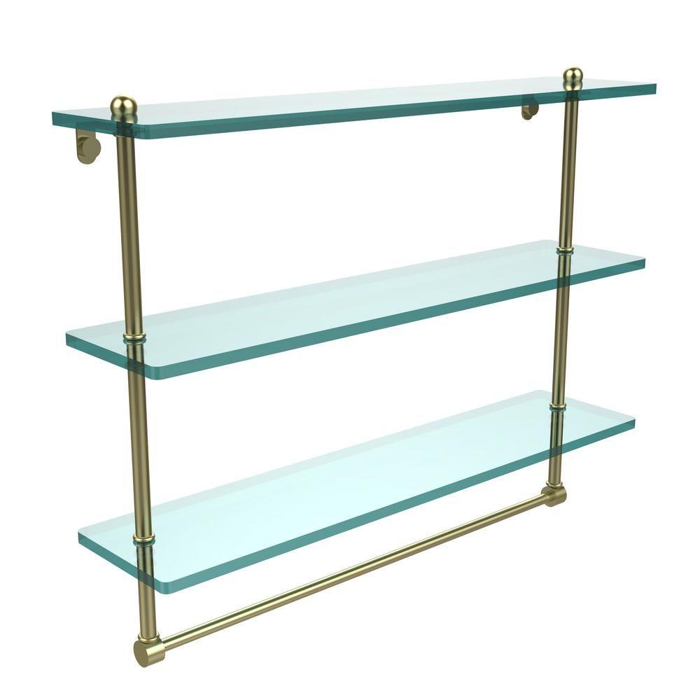 Allied Brass 22 in. L x 18 in. H x 5 in. W 3-Tier Clear Glass Bathroom Shelf with Towel Bar in Satin Brass