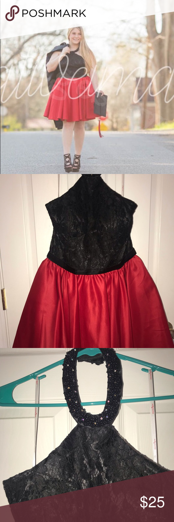 Beaded halter neck. Black lace w/ Red satin skirt Perfect for homecoming prom or…