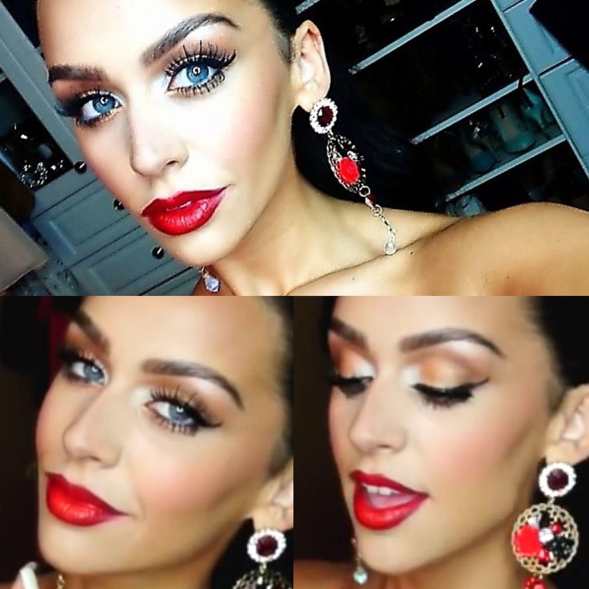 Carli Bybel Kim Kardashian Makeup: Bronze Smokey Eye & Red Lips - PRODUCTS USED: L'Oreal Magic ...