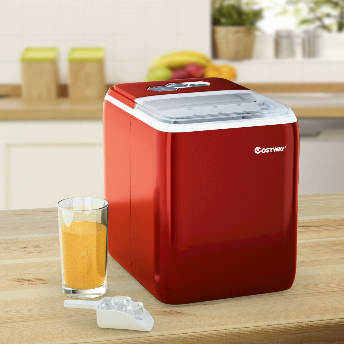 44 Lbs Portable Countertop Ice Maker Machine With Scoop Red