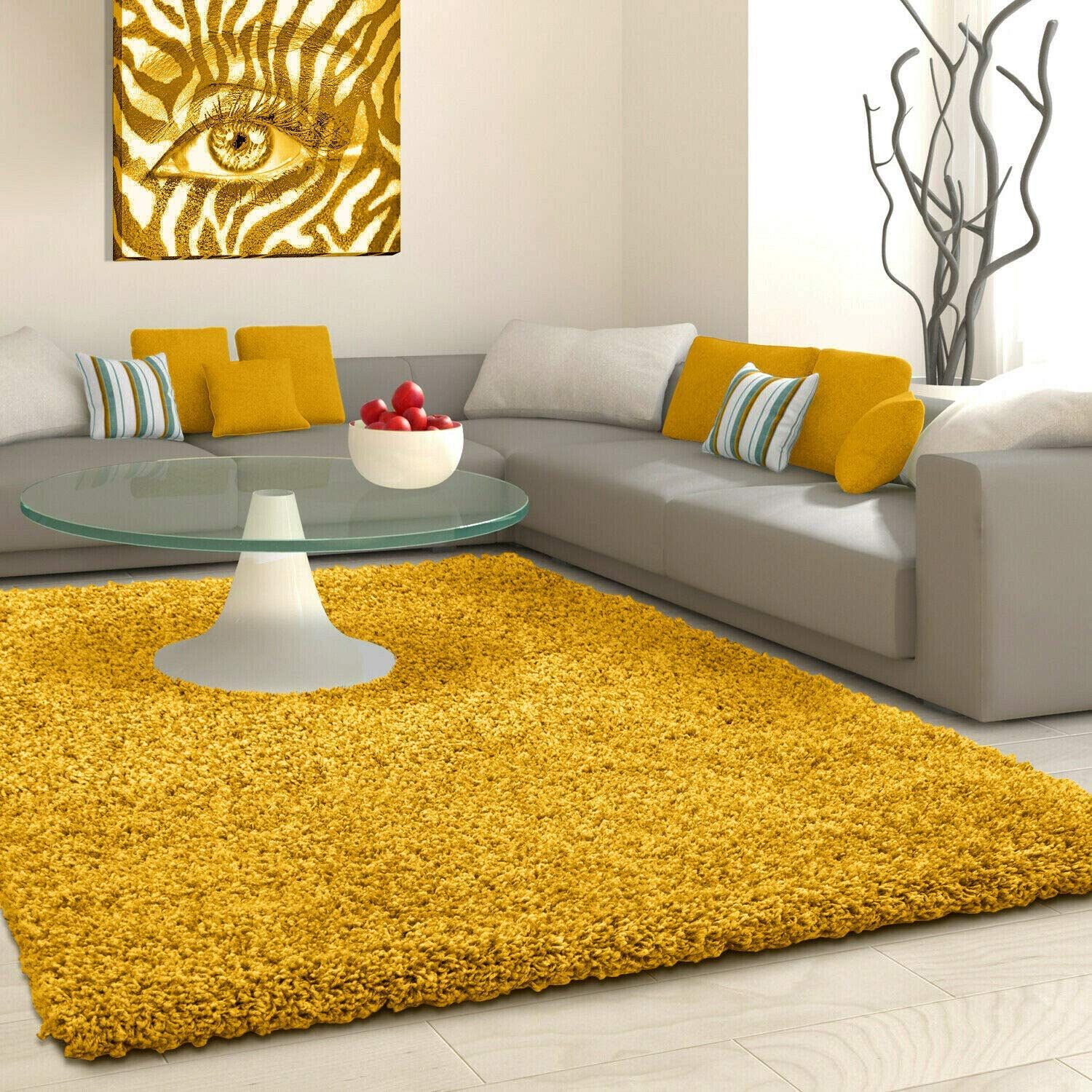 Shaggy Rug Rugs Living Room Large Soft Touch 5cm Thick Pile Modern Bedroom Living Room Area Rugs Non S In 2021 Rugs In Living Room Area Room Rugs Living Room Area Rugs Yellow rugs for living room
