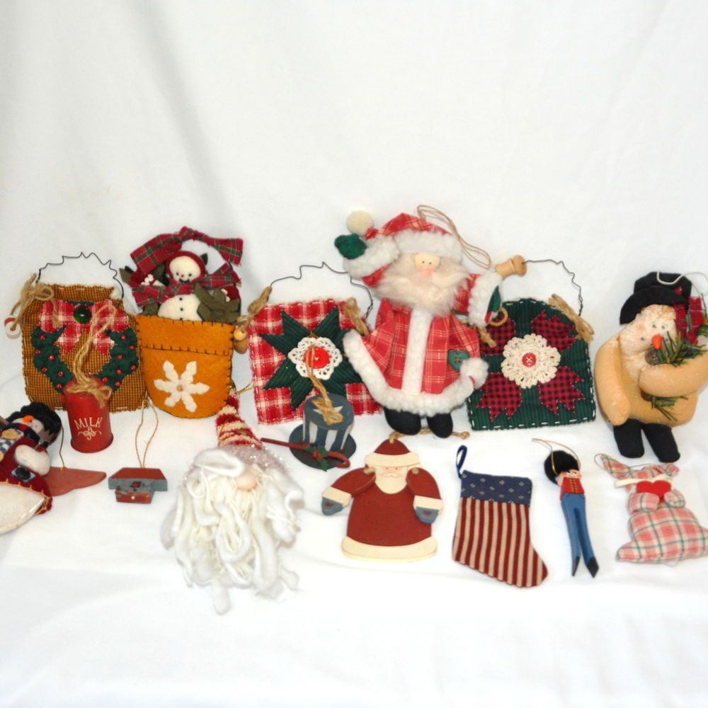 Americana christmas ornaments - Lot Of 15 Pieces Primitive Christmas Ornaments Assorted Americana Snowman More