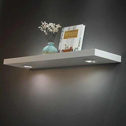 White Floating Shelf With Touch Sensing Battery Powered Led Light Wall Mounted Display Shelves For Entrance Living Room Bedroom Kitchen And Bathroom In 2020 Floating Wall Shelves Floating Shelves With Lights White