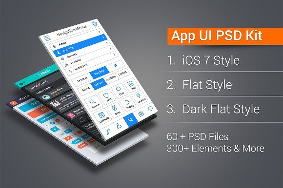 App UI PSD Kit in 3 Styles by GraphicsFuel on @creativemarket   #UI ...