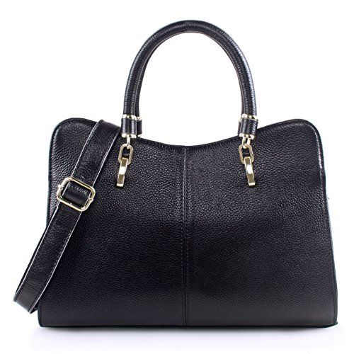 Yafeige Women Ladies Genuine Leather Tote Bag Handbag Shoulder Bag Tophandle Purse Black -- Read more reviews of the product by visiting the link on the image.