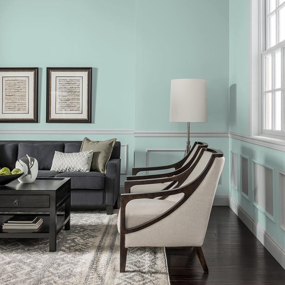 glidden premium 8 oz hdgb10 opal silk green eggshell on sample color schemes for interiors id=37049