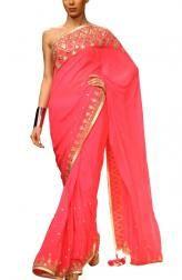 b8eeff89492 Neon Pink Georgette Saree. Choosing Mother of the Bride Dresses- Neon Pink  Georgette Saree by Anita Dongre Indian Designer