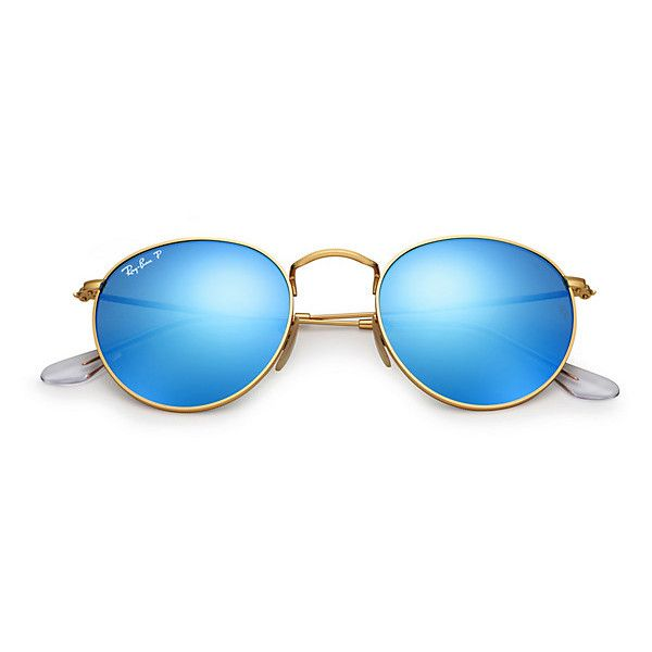 da44bc3cca Ray-Ban Round Gold Sunglasses, Polarized Blue Flash Lenses - Rb3447 ($200)