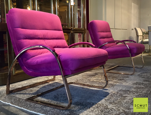 SCOUT LABEL Claude Chair in Rose Gold with Magenta Velvet Upholstery ...