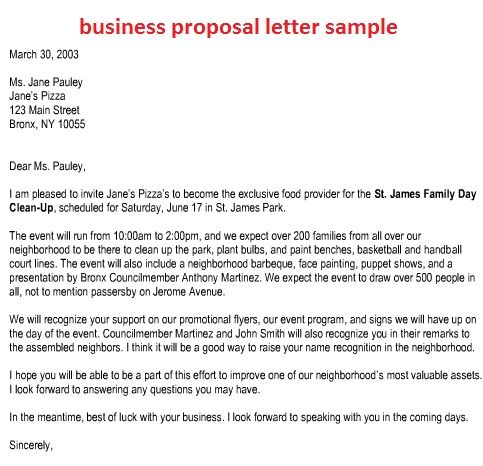 sample business partnership letter the best invitation for - free examples of business proposals