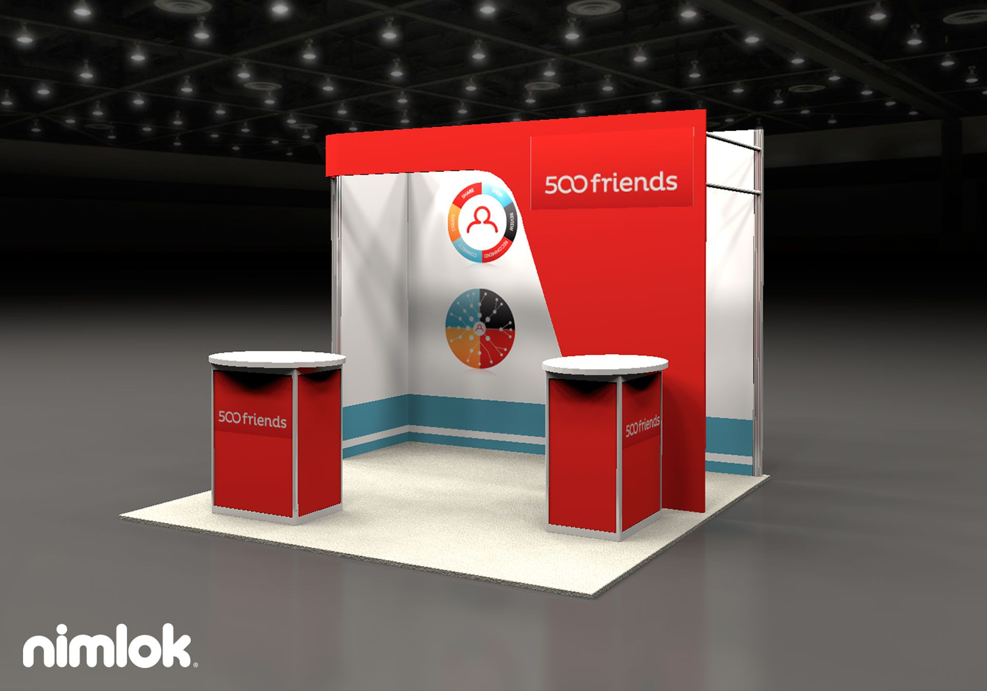 Client Name: 500 Friends  Design #: 58470R1  Size: 10x10  Attract visitors with this unique 10'x10' inline exhibit design, which features a fabric backwall behind a fabric archway accent. The design creates a semi-private branded space for you to communicate your branded message with visitors.  Additional Options:  Fabric Graphics Fabric Structure Counters
