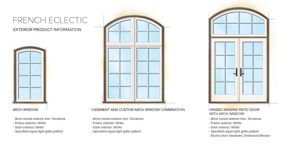 French Eclectic Home Style Exterior Window Door Details