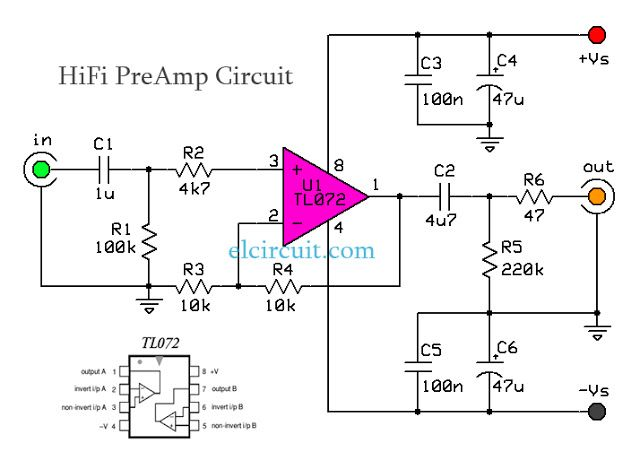 HiFi Audio PreAmp Circuit TL072 | ELECTRONICA Y PINOUTS in ... on