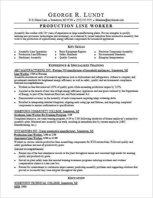 Sample Resume For A Production Line Worker Line Worker Job Resume Samples Resume