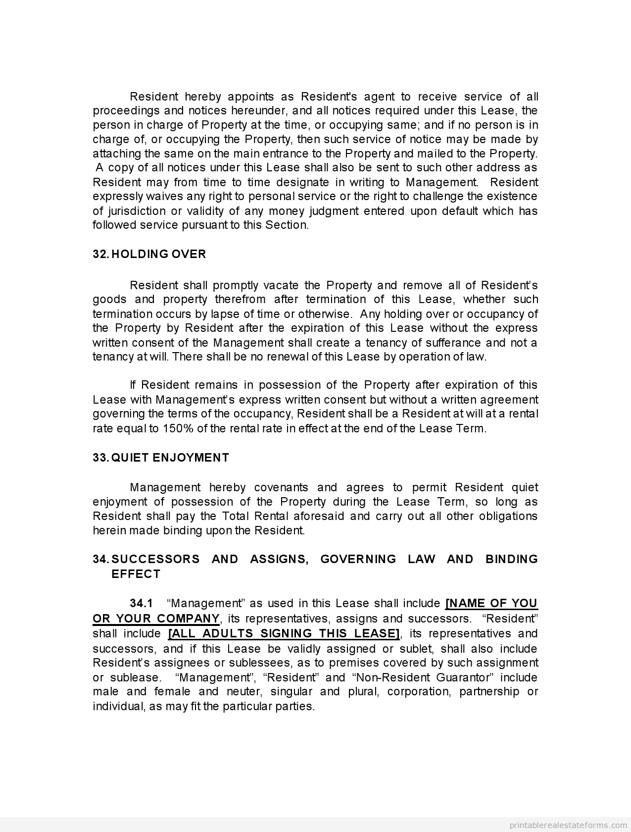 Printable pro landlord monster lease template 2015 | Sample Forms ...