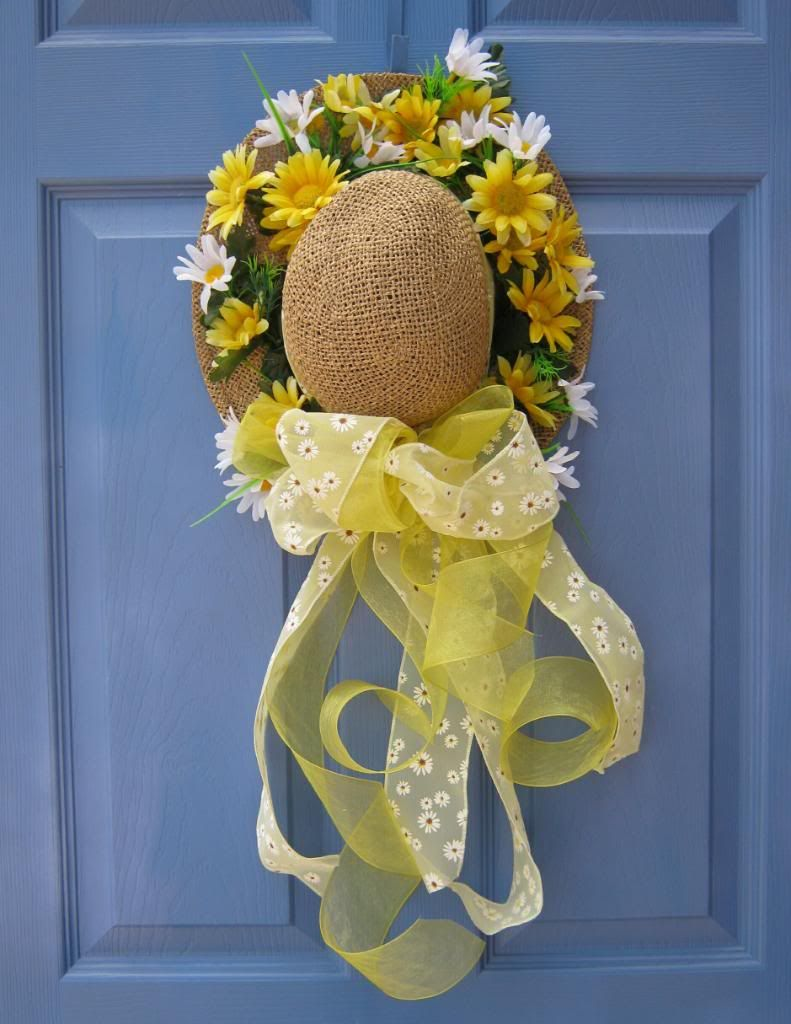 Image detail for -Country Daisy Straw Hat Front Door Floral Wreath Spring Easter Holiday ...