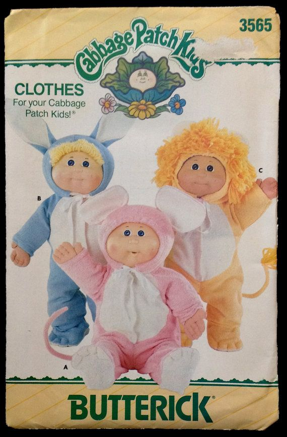 Cabbage Patch Kids Costume Sewing Pattern - Lion Bunny Mouse Pajamas Halloween Costumes 1985 Vintage Uncut