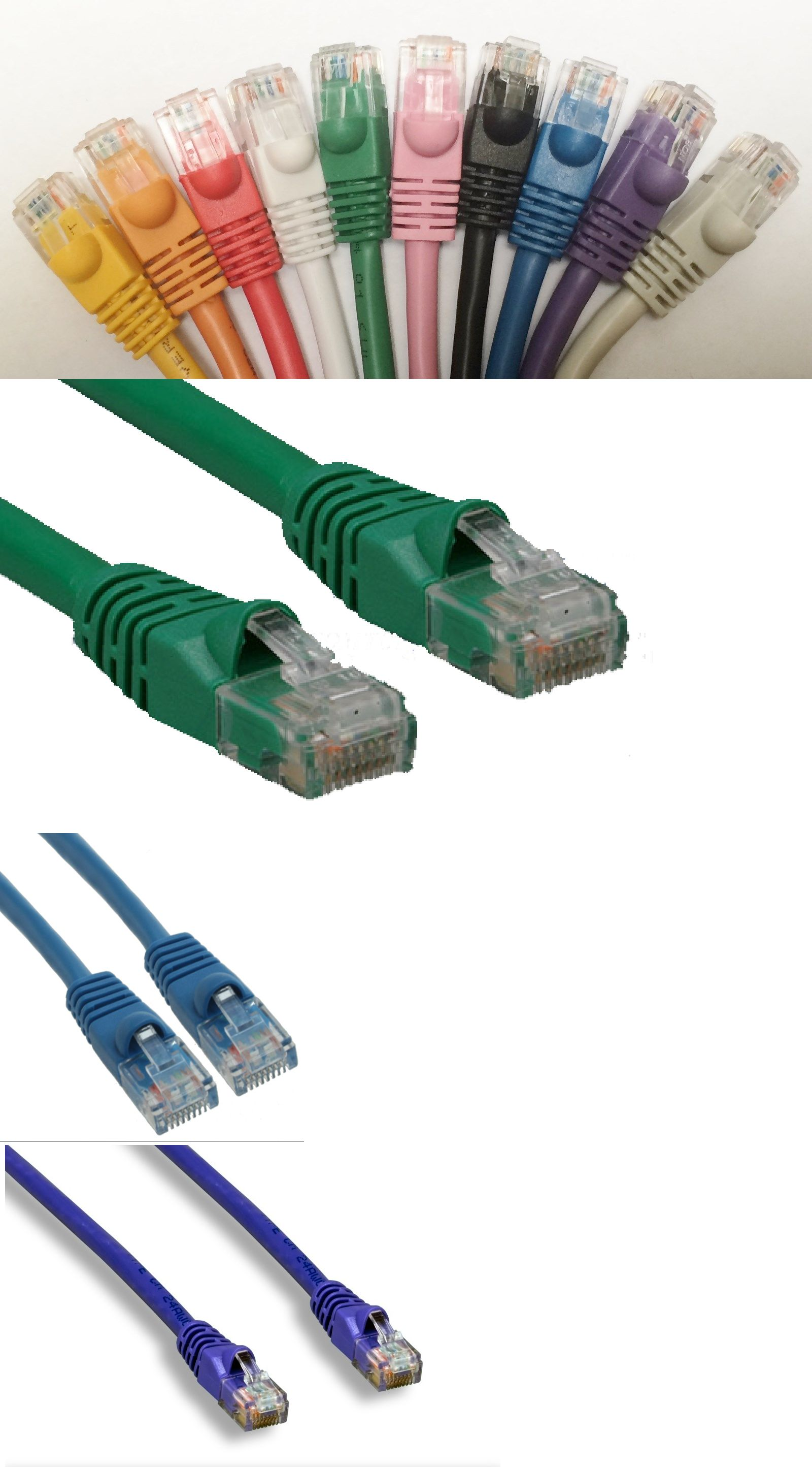 50 Pack Lot 7ft CAT6 Ethernet Network LAN Patch Cable Cord 550 MHz RJ45 Blue