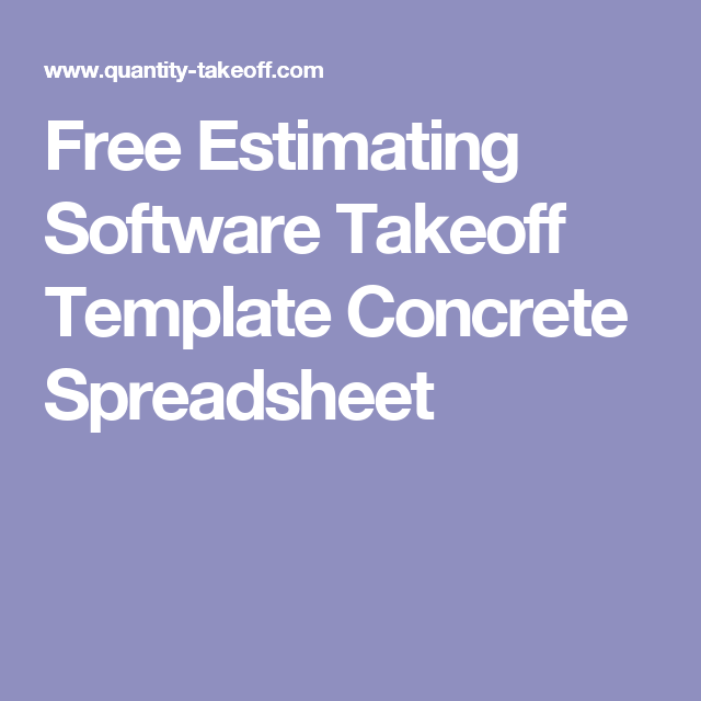 Free Estimating Software Takeoff Template Concrete