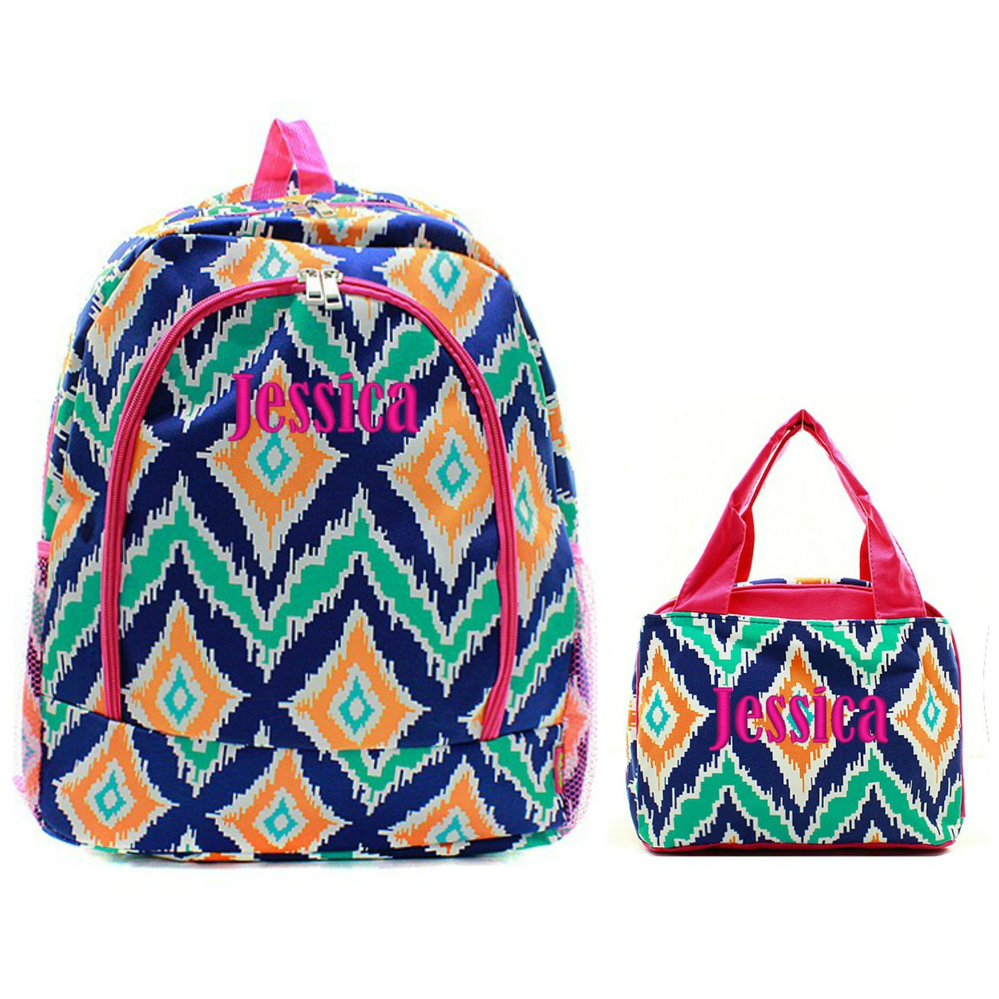 Matching Ikat Pink Navy Mint Personalized Kids Backpack & Lunch ...