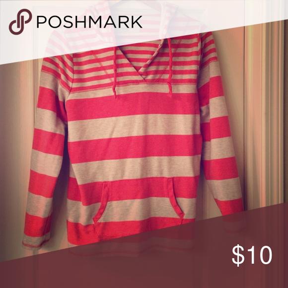 J Crew style sweatshirt hoodie Adorable stripe (mini & wide) patterned sweatshirt hoodie.  Deep orange and tan Sweaters Crew & Scoop Necks