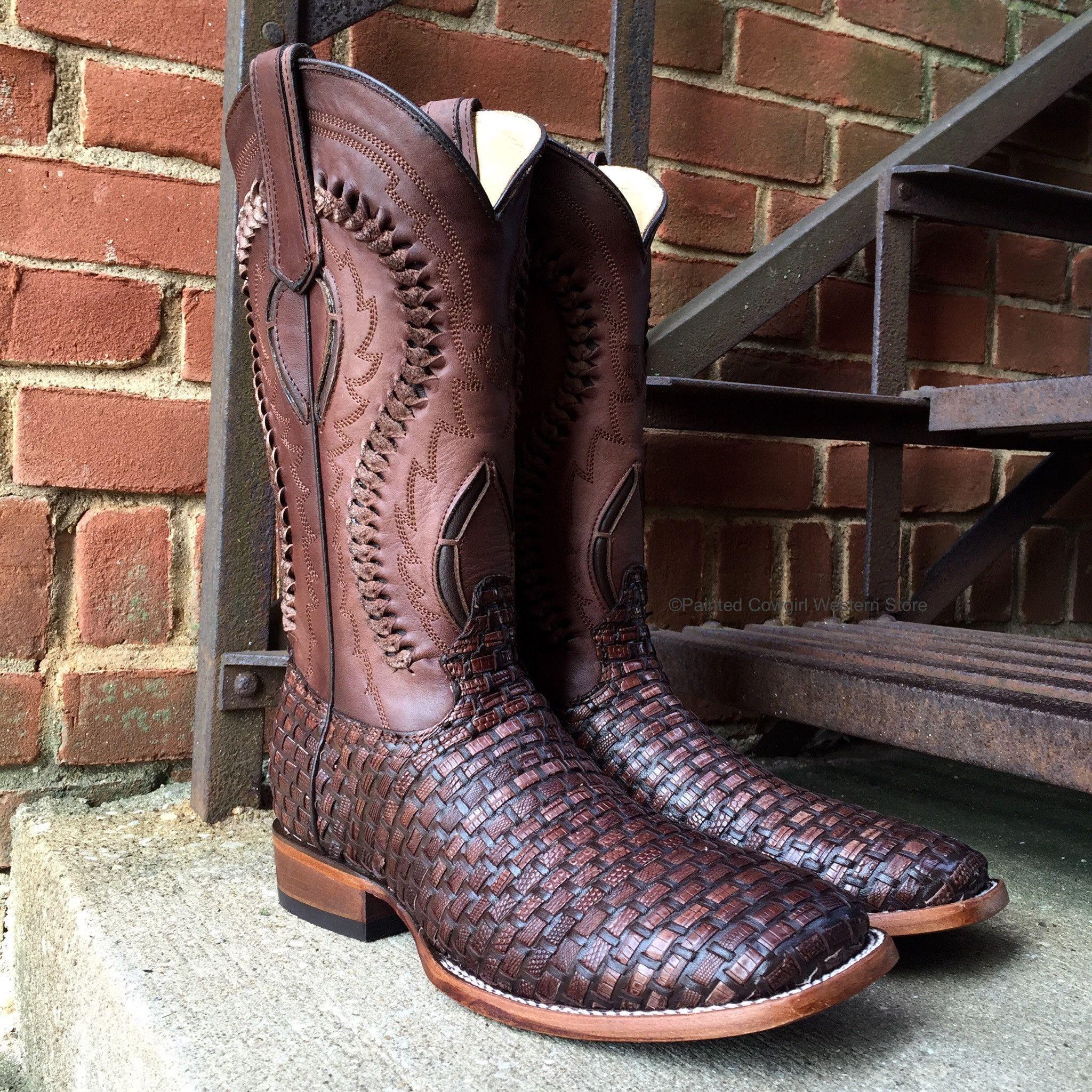 6863dd85337 Corral Men's Exotic Braided Lizard Print Brown Square Toe Boot C3087 ...
