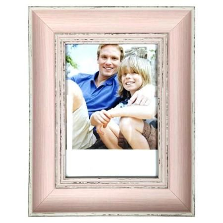 5 x 7 Inch Vintage Wood Weathered Look Easel Stand Photo Picture Frame - Pink