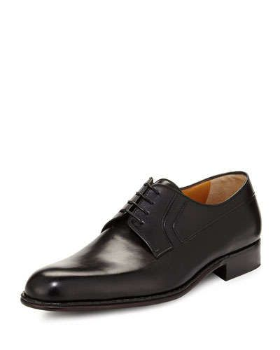 N3B09 A.Testoni Calf Leather Lace-Up Derby, Nero