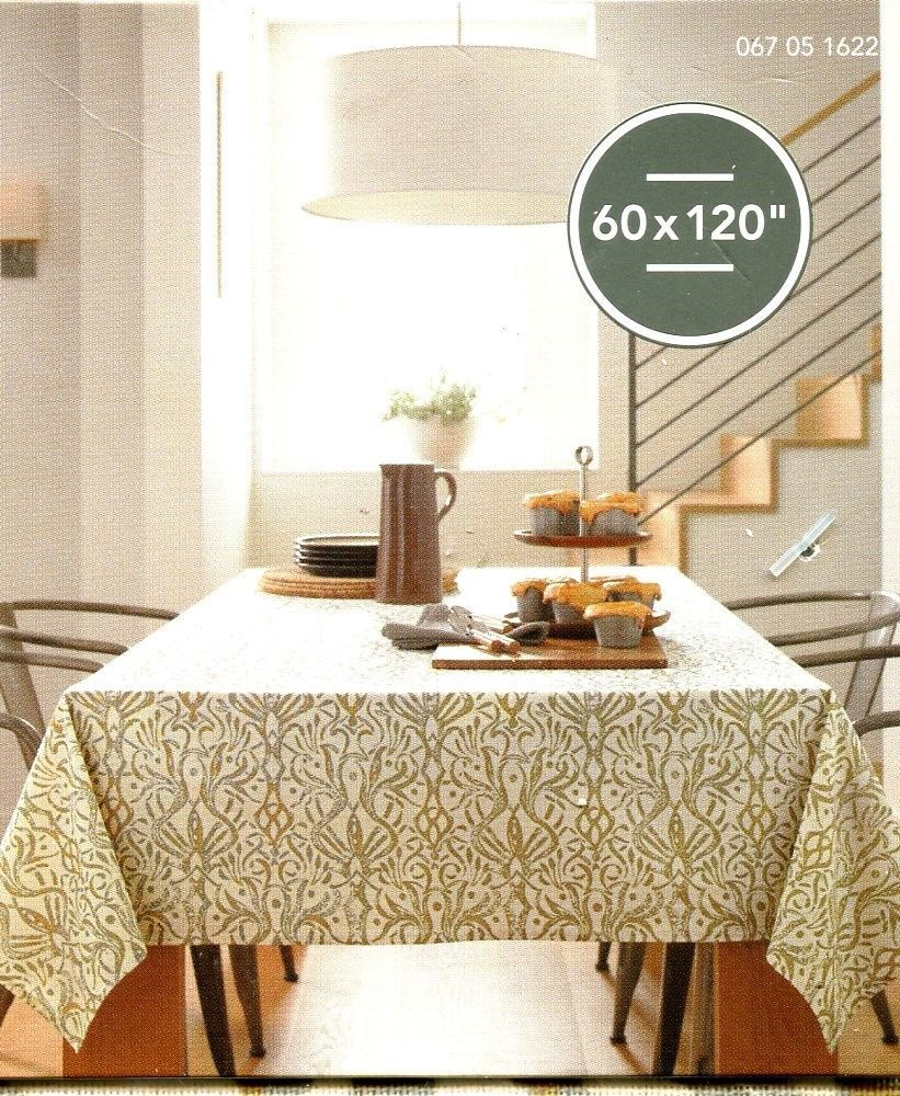 THRESHOLD OBLONG FABRIC TABLECLOTH / 60 X 120 / OFF WHITE GRAY GOLD PRINT /  NWT