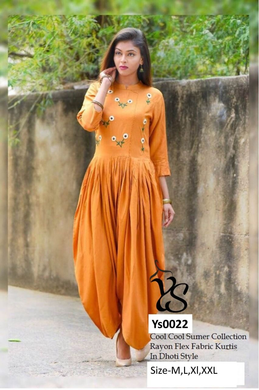 ab1333581d1 Rayon  dhoti style  jumpsuit  orange  green  yellow  coffe brown  blue   Pink  color  embroidery on upper portion with  elbow length sleeves Size- S