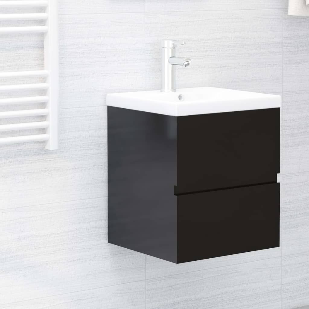 Sink Cabinet with Built-in Basin High Gloss Black Chipboard