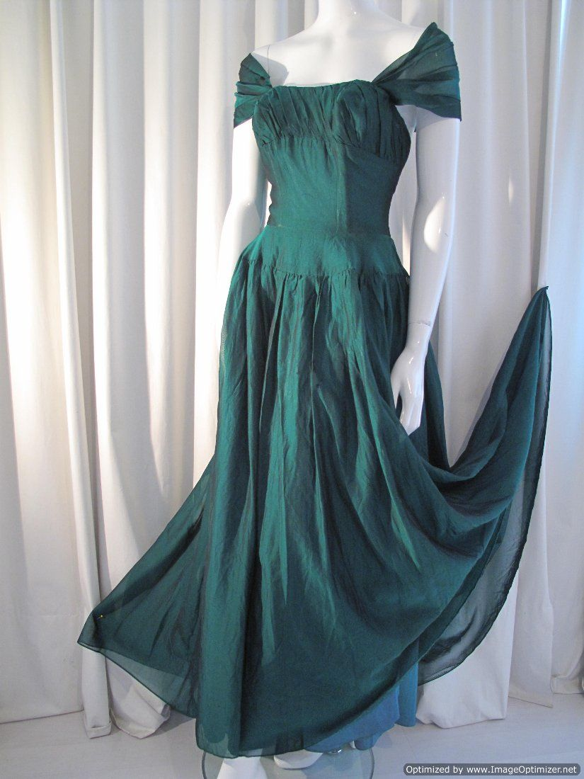 1940s Young Liberty Gown By Liberty Of London Green Evening Gowns Green Formal Dresses Vintage Gowns [ 1100 x 825 Pixel ]