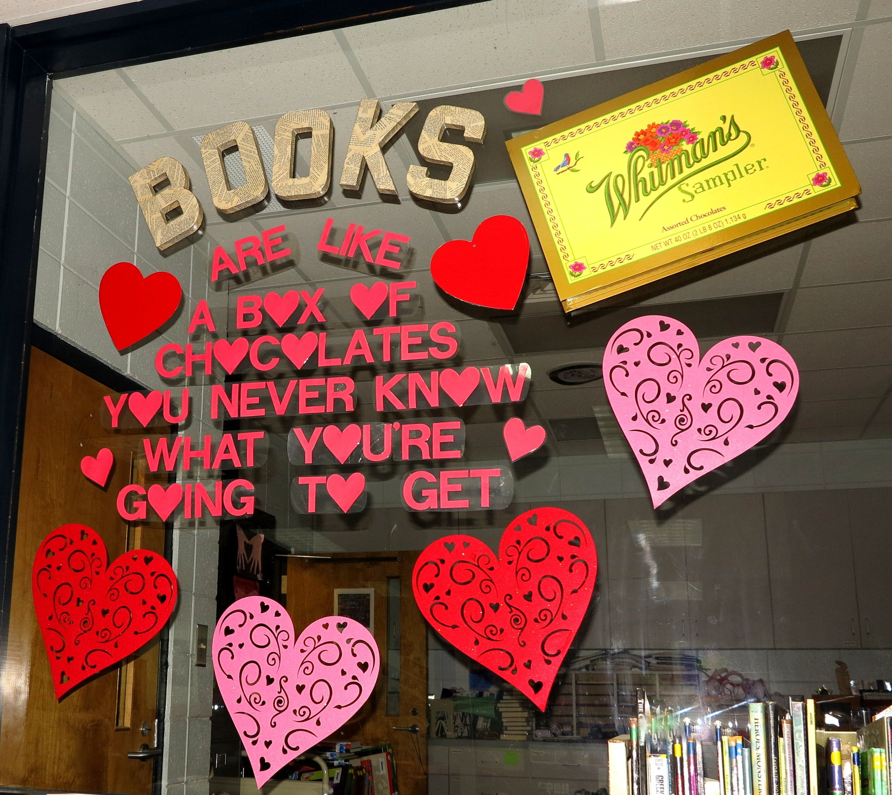 Books Are Like A Box Of Chocolates Happy Valentine S Day Library Book Displays Valentine Bulletin Boards Library Displays