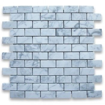Carrara White 1x2 Medium Brick Mosaic Tile Honed - Marble from Italy