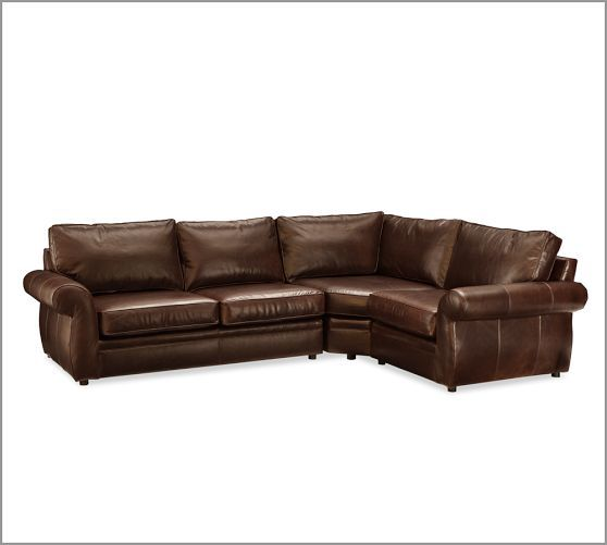 Pearce 3 Piece Leather Sectional With Wedge Leather