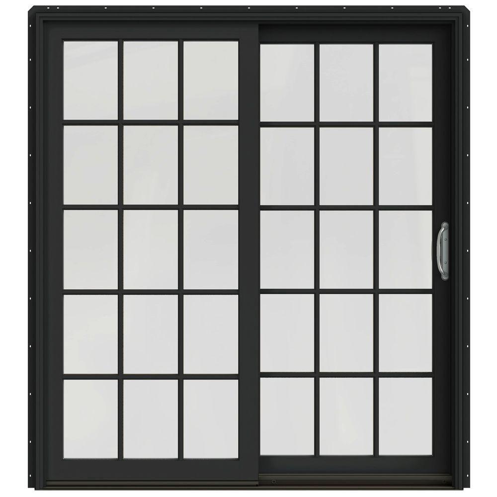JELD-WEN 71-1/4 in. x 79-1/2 in. W-2500 Chestnut Bronze Prehung Right-Hand Clad-Wood Sliding Patio Door with 15-Lite Grids