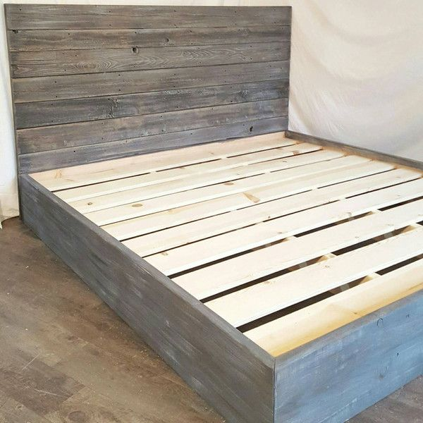 The Michelle Grey Weathered Reclaimed Wood Bed Frame 520 Liked On Polyvore Featuring