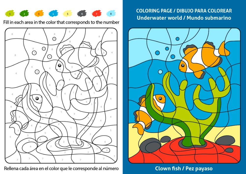 Dibujos Infantiles Para Colorear Y Aprender Ingles Dibujo De Un Pez Payaso Clown Fish Pez Para Colorear Payasos Pez Payaso