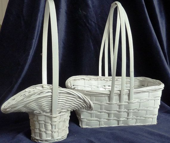 2+White+Wicker+Baskets+Flower+Girl+Baskets+by+TheSewingGin+on+Etsy,+$22.50