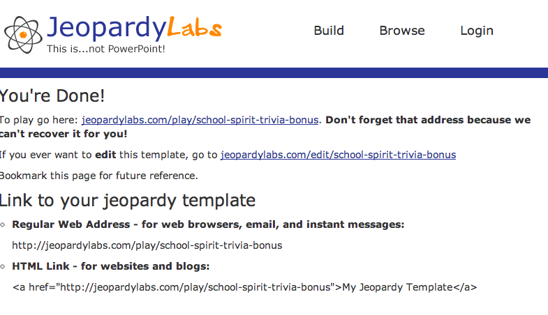 Create your own jeopardy template online, without PowerPoint. Or