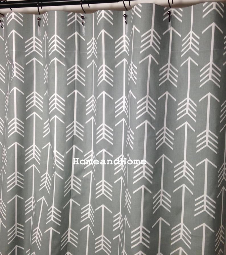 Arrow Shower Curtain Gray Shower Curtain Extra Wide Shower Etsy
