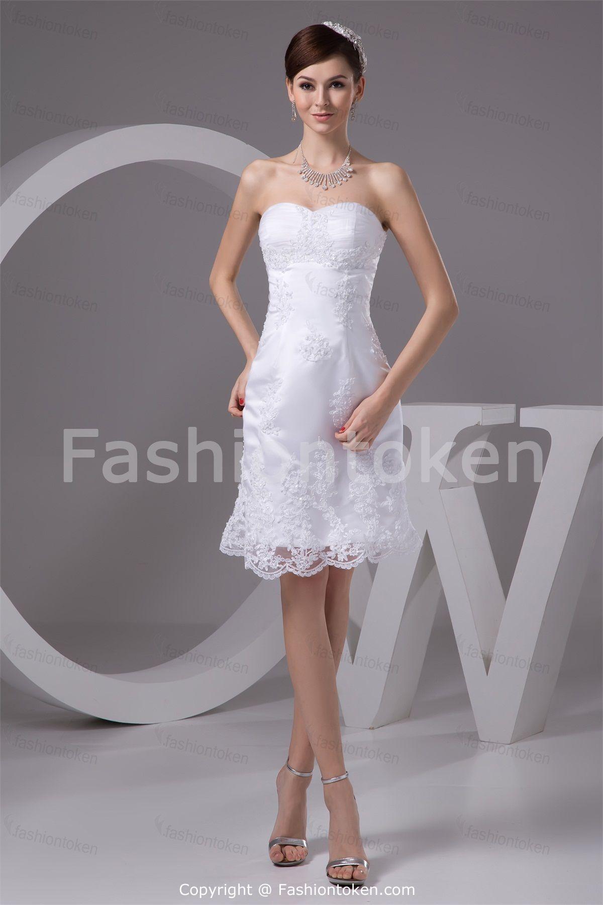 Short Beach Wedding Dresses   ... Destination Satin Zipper-back Lace Beach/Short Wedding Dress
