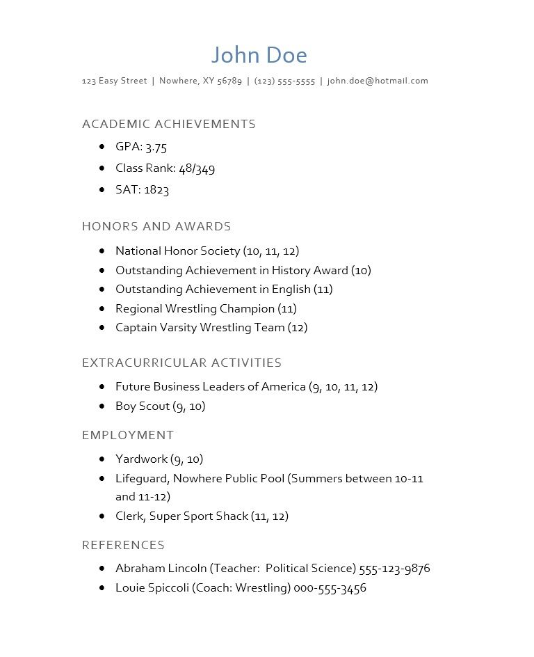 College Resume Template For High School Students Cover Letter