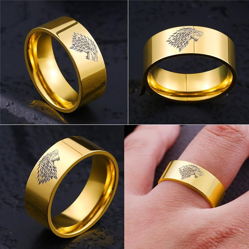 About The Product Fashion Design Brushed Texture Of Surface Game Of Thrones Ice Wolf Perfect Beautiful Jewelry Ring Vintage Gold Engagement Rings Wolf Ring