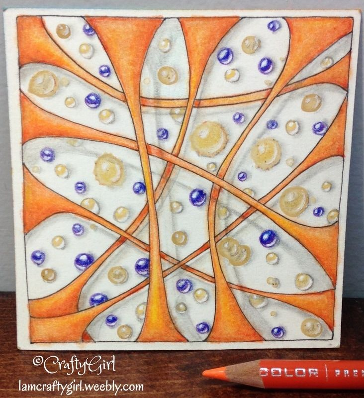 """Zentangle Tile by CraftyGirl using spills and stains  for """"I am the Diva Challenge #312"""""""
