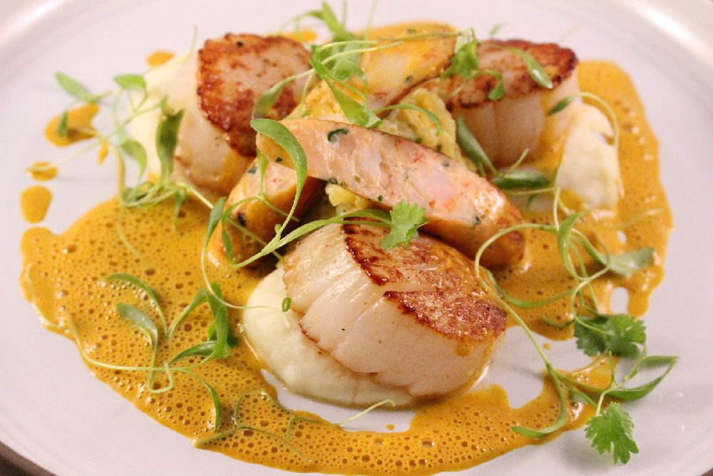 Seared Scallops Seafood Sausage Potato Puree Carrot